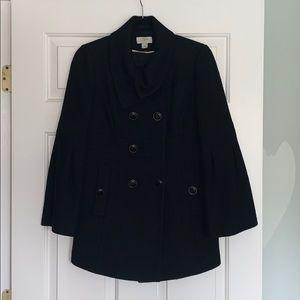 LOFT Black Wool Bell Sleeve Button Coat